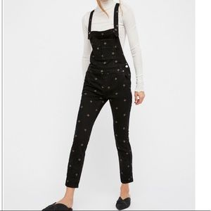 Free People Denim Overalls with Embroidery